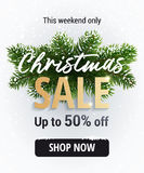 Η πώληση Χριστουγέννων Άσπρο έμβλημα για την περιοχή Στοκ φωτογραφία με δικαίωμα ελεύθερης χρήσης