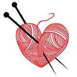 Η πλέκοντας βελόνα μαλλιού καρδιών απομονώνει το λογότυπο χόμπι handcraft απεικόνιση αποθεμάτων