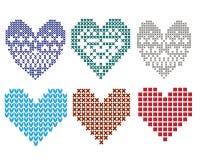 Η πλεκτή γραφική καρδιά clipart έθεσε Στοκ Εικόνα