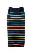 Η πλεκτή μαύρη φούστα στη χρωματισμένη λουρίδα απομονώνει Στοκ φωτογραφία με δικαίωμα ελεύθερης χρήσης