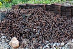 Η ράγα δένει χρησιμοποιημένος και σκουριά στοκ εικόνες