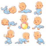 Η δράση, ηλικία, τέχνη, σφαίρα, γέννηση, μπουκάλι, κάρτα, προσοχή, κινούμενα σχέδια, χαρακτήρας, παιδί, ζωηρόχρωμο, σέρνεται, ημε ελεύθερη απεικόνιση δικαιώματος
