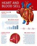 Η ρεαλιστικά καρδιά και το αίμα πωλούν το έμβλημα με το διάγραμμα διανυσματική απεικόνιση