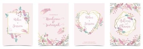 Η ροζ πράσινη, χρυσή κάρτα γαμήλιας πρόσκλησης καρδιών γεωμετρίας με αυξήθηκε διανυσματική απεικόνιση