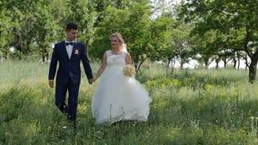 Η ρομαντική γαμήλια στιγμή, το ζεύγος των newlyweds, η νύφη και ο νεόνυμφος περπατούν στο πάρκο HD φιλμ μικρού μήκους