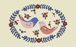 Η ρομαντική σκηνή άνοιξη, ένα ζευγάρι των πουλιών αγάπης χτίζει μια φωλιά απεικόνιση αποθεμάτων