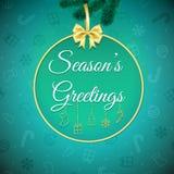 η δροσερή πράσινη φωτογραφία διακοσμήσεων διακοπών χαιρετισμών σύνθεσης Χριστουγέννων παρουσιάζει τις κόκκινες εποχές background  απεικόνιση αποθεμάτων