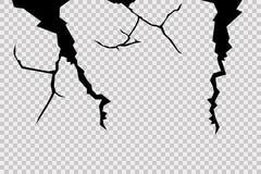 Η ρωγμή στον τοίχο Θέστε ένα διαφανές υπόβαθρο Ρεαλιστικό σπάσιμο στην επιφάνεια διανυσματική απεικόνιση