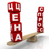 Η ρωσικές απαίτηση και η τιμή λέξεων στις κλίμακες διανυσματική απεικόνιση
