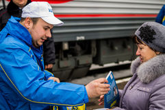 Η ρωσική προπαγάνδα Το ρωσικό τραίνο εκστρατείας του κόμματος LDPR αντίθεσης Στοκ φωτογραφίες με δικαίωμα ελεύθερης χρήσης