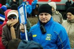 Η ρωσική προπαγάνδα Το ρωσικό τραίνο εκστρατείας του κόμματος LDPR αντίθεσης Στοκ Φωτογραφία