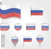 Η ρωσική σημαία - σύνολο εικονιδίων και σημαιών Στοκ φωτογραφίες με δικαίωμα ελεύθερης χρήσης