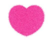 τρισδιάστατη ρόδινη γούνινη καρδιά Στοκ Φωτογραφία