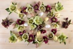 Η ρύθμιση Πάσχας με τα λουλούδια άνοιξη στη φυσική ξύλινη τοπ άποψη υποβάθρου, επίπεδη βάζει Στοκ φωτογραφία με δικαίωμα ελεύθερης χρήσης