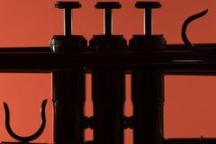 Η σάλπιγγα ορείχαλκου απαριθμεί backlight τη μακρο κινηματογράφηση σε πρώτο πλάνο Στοκ Φωτογραφίες
