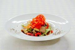 Η σαλάτα με το πιπέρι της Τουρκίας ξεφυτρώνει, cornichons και λαχανικά, σε ένα άσπρο πιάτο σε ένα ελαφρύ υπόβαθρο Στοκ Εικόνα
