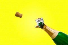 η σαμπάνια μπουκαλιών σκάει Στοκ φωτογραφία με δικαίωμα ελεύθερης χρήσης