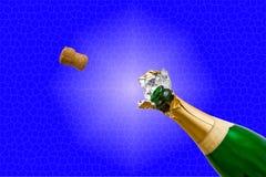 η σαμπάνια μπουκαλιών σκάει Στοκ εικόνες με δικαίωμα ελεύθερης χρήσης