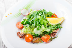 Η σαλάτα θαλασσινών με τα μύδια, τα καλαμάρια, οι ντομάτες χταποδιών, arugula, μαρουλιού και κερασιών στο ξύλινο υπόβαθρο κλείνου στοκ φωτογραφία με δικαίωμα ελεύθερης χρήσης