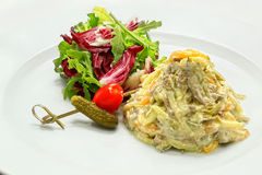 Η σαλάτα με το βρασμένο χοιρινό κρέας Στοκ Φωτογραφίες