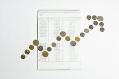 Η σειρά νομισμάτων για να παρουσιάσει γραφική παράσταση μεγαλώνει στο βιβλίο απολογισμού αποταμίευσης τραπεζών Στοκ Εικόνα