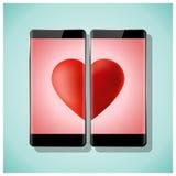 Η σε απευθείας σύνδεση αγάπη έννοιας χρονολόγησης δεν έχει κανένα όριο με δύο smartphones που ταιριάζουν με την κόκκινη καρδιά στ διανυσματική απεικόνιση
