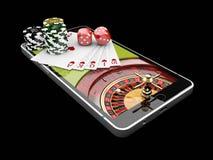 Η σε απευθείας σύνδεση χαρτοπαικτική λέσχη app, κάρτες Διαδικτύου πόκερ με χωρίζει σε τετράγωνα και τσιπ χαρτοπαικτικών λεσχών στ στοκ φωτογραφίες