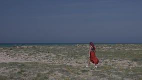 Η σε αργή κίνηση κοκκινομάλλης νέα γυναίκα σε μια κόκκινη φούστα περπατά κατά μήκος της ακτής προς τη θάλασσα ενάντια σε έναν μπλ απόθεμα βίντεο