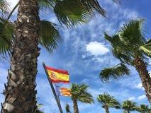 Η σημαία από την Ισπανία και την Καταλωνία Στοκ Εικόνα