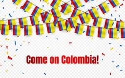 Η σημαία γιρλαντών της Κολομβίας με το κομφετί στο διαφανές υπόβαθρο, κρεμά το ύφασμα για το έμβλημα προτύπων εορτασμού, διανυσμα διανυσματική απεικόνιση