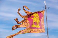 Η σημαία της Βενετίας Venezia με το φτερωτό λιοντάρι στο υπόβαθρο μπλε ουρανού Στοκ εικόνα με δικαίωμα ελεύθερης χρήσης