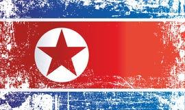 Η σημαία της Βόρεια Κορέας, η δημοκρατική Λαϊκή Δημοκρατία της Κορέας, ζάρωσε τα βρώμικα σημεία διανυσματική απεικόνιση