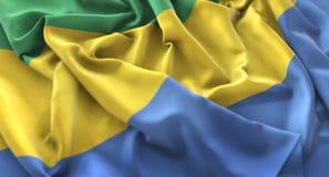 Η σημαία της Γκαμπόν αναστάτωσε τον υπέροχα κυματίζοντας μακρο πυροβολισμό κινηματογραφήσεων σε πρώτο πλάνο Στοκ Εικόνα