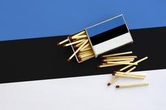 Η σημαία της Εσθονίας παρουσιάζεται σε ένα ανοικτό σπιρτόκουτο, από το οποίο διάφορες αντιστοιχίες αφορούν και βρίσκονται μια μεγ στοκ φωτογραφία