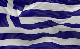 Η σημαία της Ελλάδας που κυματίζει στον αέρα τρισδιάστατο δίνει Στοκ Φωτογραφία