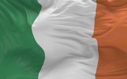 Η σημαία της Ιρλανδίας που κυματίζει στον αέρα τρισδιάστατο δίνει Στοκ εικόνα με δικαίωμα ελεύθερης χρήσης