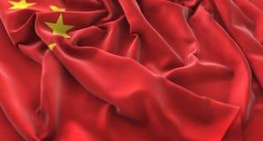 Η σημαία της Κίνας αναστάτωσε τον υπέροχα κυματίζοντας μακρο πυροβολισμό κινηματογραφήσεων σε πρώτο πλάνο Στοκ φωτογραφία με δικαίωμα ελεύθερης χρήσης