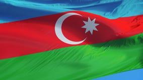 Η σημαία του Αζερμπαϊτζάν σε σε αργή κίνηση περιτυλίχτηκε χωρίς ραφή με τον άλφα απεικόνιση αποθεμάτων