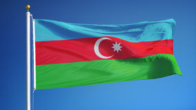 Η σημαία του Αζερμπαϊτζάν σε σε αργή κίνηση περιτυλίχτηκε χωρίς ραφή με τον άλφα ελεύθερη απεικόνιση δικαιώματος