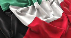 Η σημαία του Κουβέιτ αναστάτωσε τον υπέροχα κυματίζοντας μακρο πυροβολισμό κινηματογραφήσεων σε πρώτο πλάνο Στοκ εικόνες με δικαίωμα ελεύθερης χρήσης