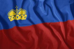 Η σημαία του Λιχτενστάιν πετά στον αέρα Ζωηρόχρωμος, εθνική σημαία του Λιχτενστάιν πατριωτισμός απεικόνιση αποθεμάτων