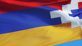 Η σημαία του Ναγκόρνο-Καραμπάχ σε σε αργή κίνηση περιτυλίχτηκε χωρίς ραφή με τον άλφα απόθεμα βίντεο