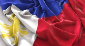 Η σημαία των Φιλιππινών αναστάτωσε τον υπέροχα κυματίζοντας μακρο πυροβολισμό κινηματογραφήσεων σε πρώτο πλάνο Στοκ Φωτογραφία