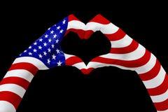 Η σημαία χεριών των ΗΠΑ, διαμορφώνει μια καρδιά Έννοια του συμβόλου χωρών, που απομονώνεται στο Μαύρο απεικόνιση αποθεμάτων
