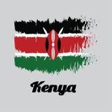 Η σημαία χρώματος ύφους βουρτσών της σημαίας της Κένυας, μαύροι άσπρος κόκκινος και πράσινος με δύο διέσχισε τις άσπρες λόγχες πί απεικόνιση αποθεμάτων