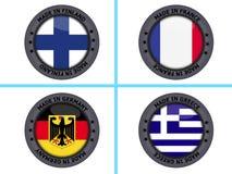 η σημαία χωρών κουμπιών απομόνωσε το λευκό Στοκ Φωτογραφία