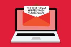 Η σημείωση γραψίματος που παρουσιάζει καλύτερο όνειρο συμβαίνει πότε σχετικά με είστε άγρυπνοι Τα όνειρα επίδειξης επιχειρησιακών διανυσματική απεικόνιση
