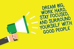 Η σημείωση γραψίματος που παρουσιάζει όνειρο μεγάλο, εργάζεται σκληρά, παραμονή που στρέφονται, και πλαίσιο οι ίδιοι με τους καλο διανυσματική απεικόνιση
