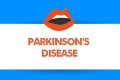 Η σημείωση γραψίματος που παρουσιάζει Parkinson s είναι ασθένεια Επιχειρησιακή φωτογραφία που επιδεικνύει την αναταραχή νευρικών  διανυσματική απεικόνιση