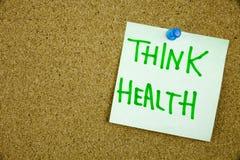 Η σημείωση υπομνημάτων για την κολλώδη σημείωση σκέφτεται την υγεία, σκέφτεται το Helath σας Στοκ φωτογραφίες με δικαίωμα ελεύθερης χρήσης